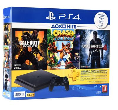 PlayStation 4 500GB Hits Bundle with ( Call of Duty Black OPS 4 + Crash + Uncharted4 )