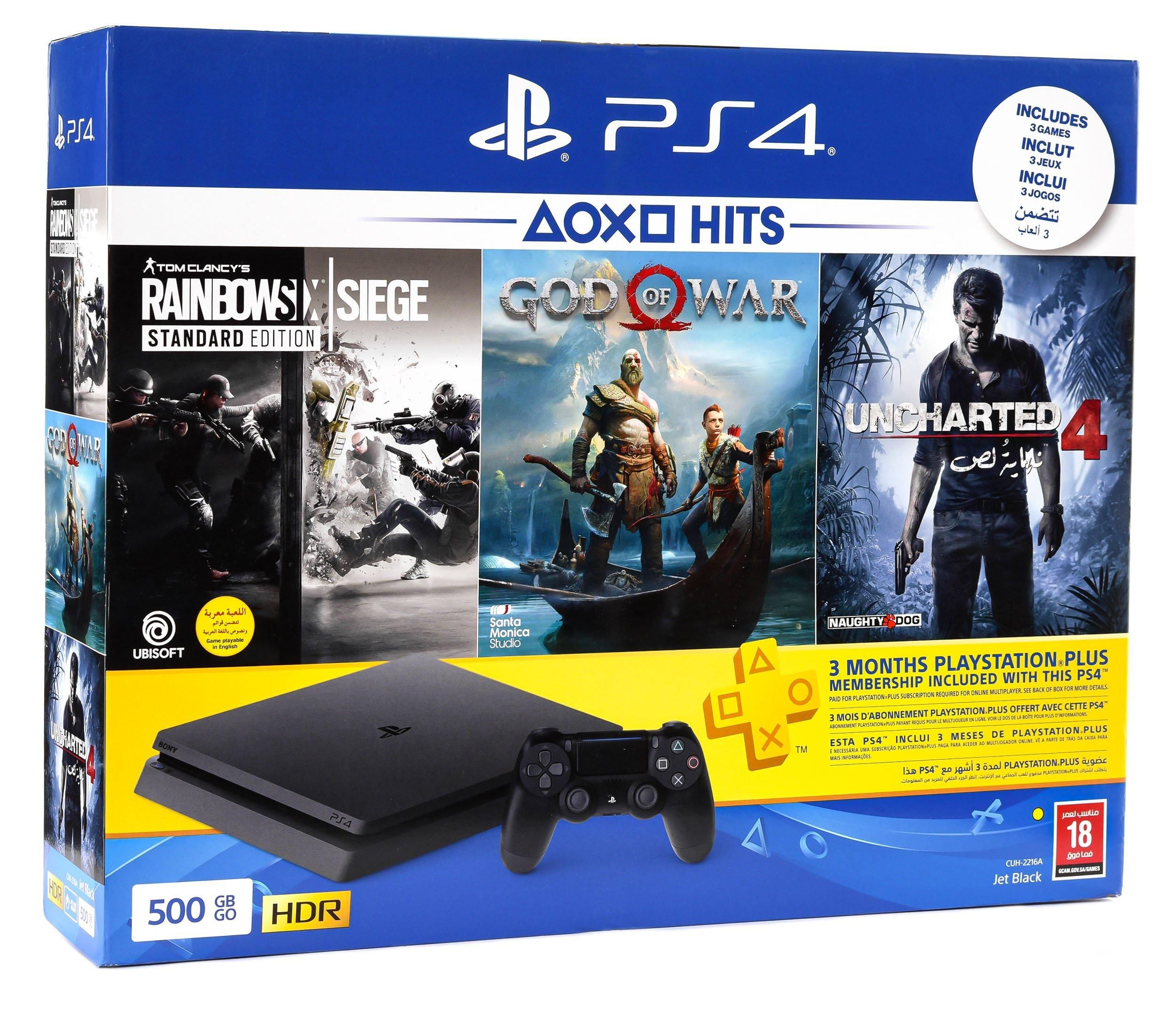 PlayStation 4 500GB Hits Bundle with ( Rainbow Six + God of War + Uncharted4 )