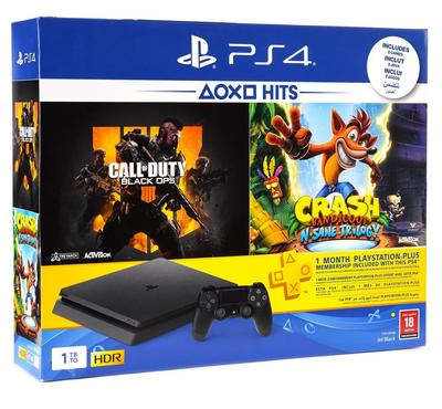 PlayStation 4,1TB with (Call of Duty Black OPS 4 + Crash + one month subscription)