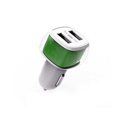 E-Strong car charger dual usb 2.4A with Micro cable White green