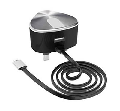 E-Strong 13A Home charger dual output 2.4A with type-C cable Black