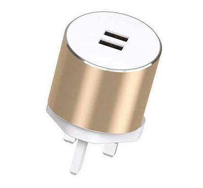 E-Strong 13A Home charger dual usb 2.4A with micro cable white gold
