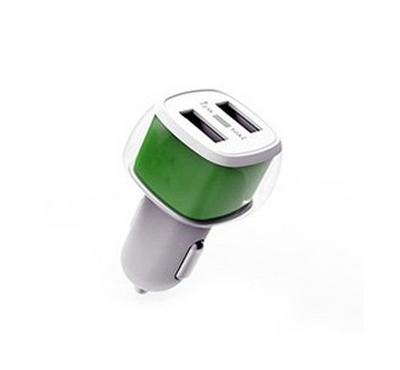 E-Strong car charger dual usb 2.4A with Iphone cable White green