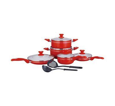 Meenumix 12pcs Aluminum Cookware Sets Red