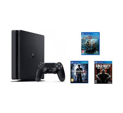 Sony PS4 500GB console with 3 games (COD BOP3, GOW, UC4) and 90 days subscription bundle
