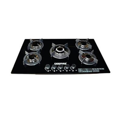 Geepas 5 burner Gas Hob tempered Glass