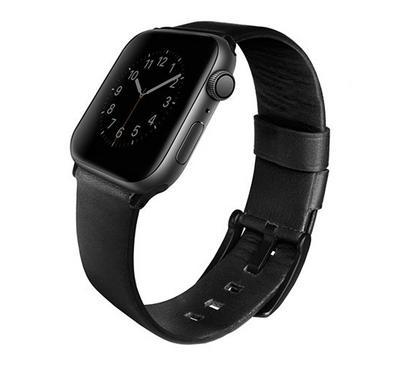 Uniq 44mm Mondain for Apple Watch Series 4 Genuine Leather, Midnight Black