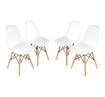 Homez Stylish Design Chair White P9 and Brown Legs (Set of 4 Chairs)