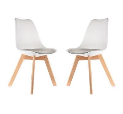 هومز، كرسي بتصميم أنيق لون  أبيض/ رمادي، مجموعة من 2 كراسي