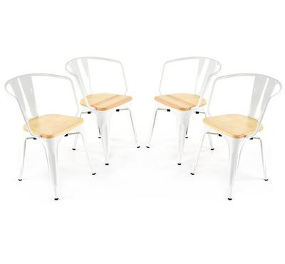 Homez Stylish Design Chair White with Natural Ash 5318 (Set of 4 Chairs)