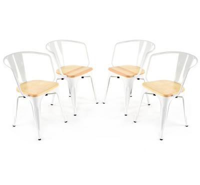 هومز، كرسي بتصميم أنيق لون أبيض، مجموعة من 4 كراسي