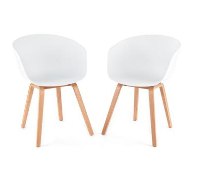 Homez Stylish Design Chair White with Solid Wood Legs (Set of 2 Chairs)