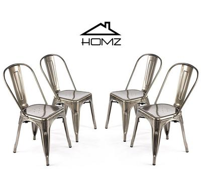 Homez Stylish Design Chair Smoke Silver T-004 (Set of 4 Chairs)