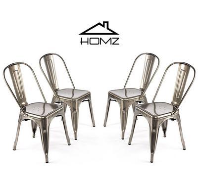 هومز، كرسي بتصميم أنيق لون فضي، مجموعة من 4 كراسي