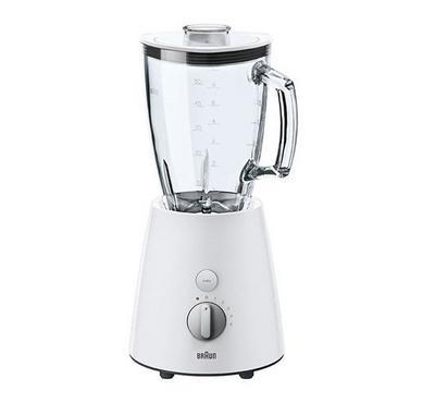 Braun Blender Glass Jar, 1.75L  800W, 5 Speed +Pulse With Turbo, White