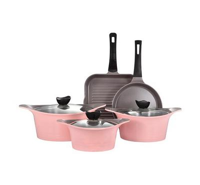 Vanilla 8Pcs Ceramic Cookware Set, Pink
