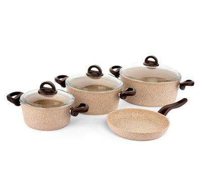 Vanilla 7Pcs Granite Cookware Set, Brownstone