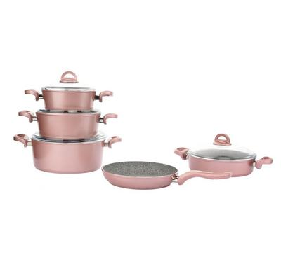 Vanilla 9Pcs Granite Cookware Set. Glass Lid, Pink Rose