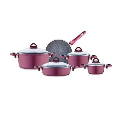 Vanilla 9Pcs Granite Cookware Set, Violet