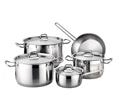 Vanilla 9Pcs Stainless Steel Cookware Set. Sizes- Casserole 20/24/28cm, Frypan 26cm, SaucePan 16cm.