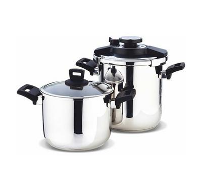 Vanilla, 2Pcs Stainless Steel Cooker Set, 8L and 10L. Black Handles.