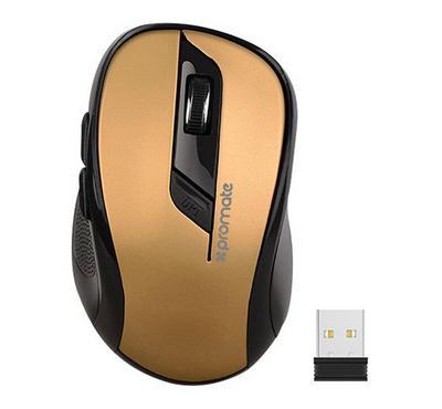 PROMATE Wireless Ergonomic Optical Mouse, Gold