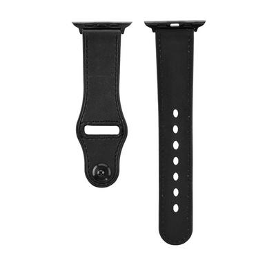 Promate Genuine Leather Strap 42mm/44MM Apple Watch, Black