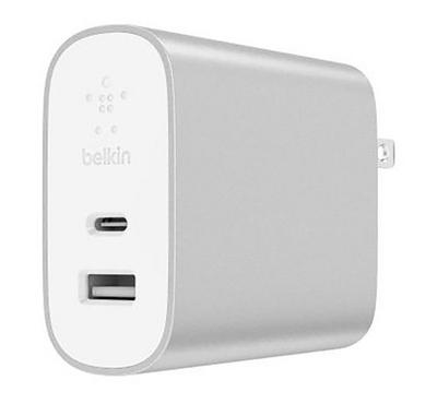 Belkin Home Charger, 2 Ports, 27 + 12W, Silver