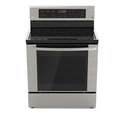 LG,  Electric Range, 4 Black Ceramic Hobs 1 Warming Zone,6.3Cu.ft, Keypad,Steel
