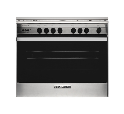GlemGas Cooker, 60X90, 5Burner Gas, Full Safety,Steel