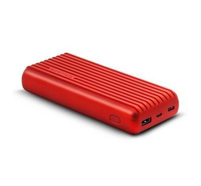 Promate Power Bank 20000mAh with Ergonomic Design, Red