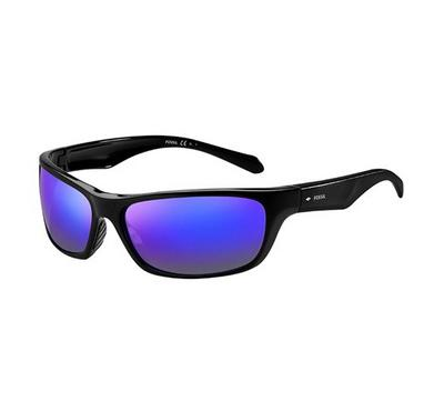 Fossil Sunglass for man rectangular matte black with blue lens