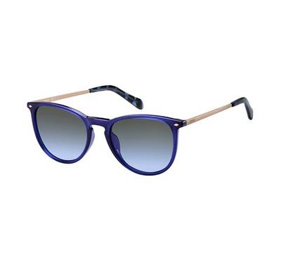 Fossil Sunglass Unisex round  blue with grey lens