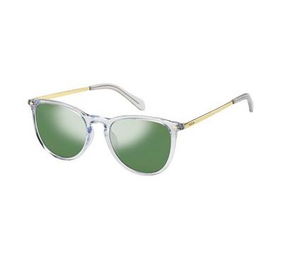 Fossil Sunglass Unisex round  Gold with green lens