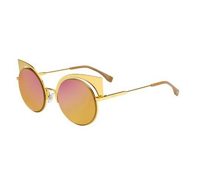 Fendi Sunglass for  woman  round  Gold with blue lens