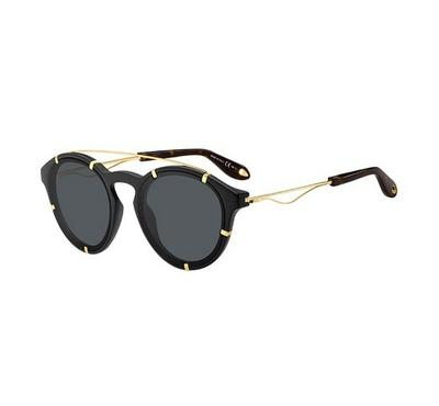Givenchy Sunglass  unisex  round   Black&gold  with Grey  lens