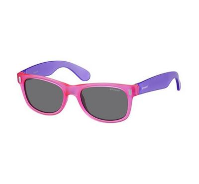 polaroid kids  sunglass for kids  rectangular violet pink with grey lens