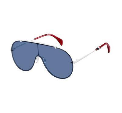 تومي هيلفيجر، نظارة شمسية، إطار أبيض ، عدسة أزرق