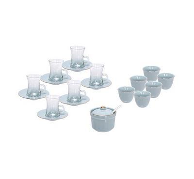 زخرف، طقم أكواب شاي وقهوة زجاج 20 قطعة - لون تيفاني