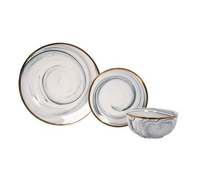 La Mesa, Dinner Set  18Pcs Serve 6 Persons Grey  Marble With Gold Rim
