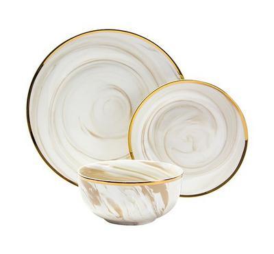 La Mesa, Dinner Set 18Pcs Serve 6 Persons Honey  Marble With Gold Rim
