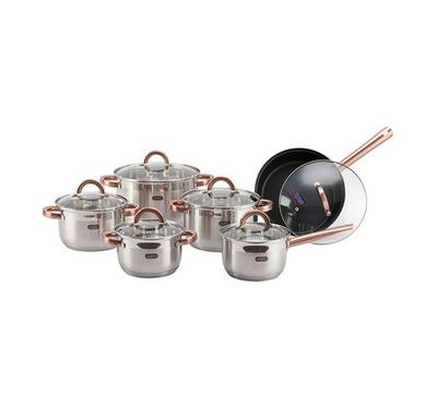 Alberto, 12Pcs Stainless Steel Cookware Set - Copper Handle