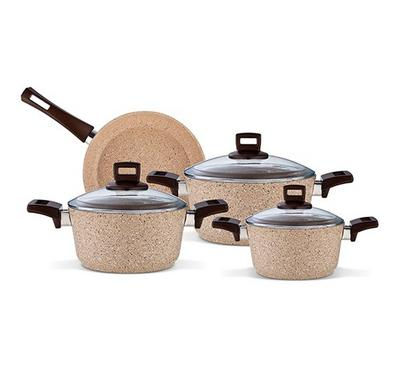 Alberto, Granite 7Pcs Cookware Brownstone
