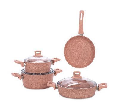 Alberto, Granite 7Pcs Cookware Pinkstone - Cas: 20/24/26Cm & Fp:24Cm