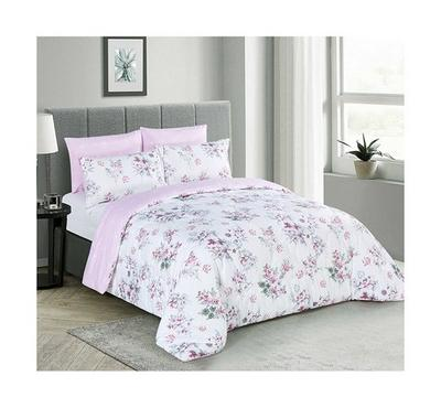 Cottage, Comforter King Size 6 Pcs Set-Bahariye, Pink