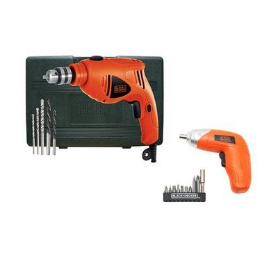 Black&Decker, 500W, Corded Reversible Hammer Drill with 5PCS BITSET + 3.6V Screwdriver