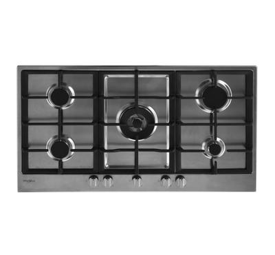 Whirlpool Gas Hob 90cm, 5 Burners,Steel