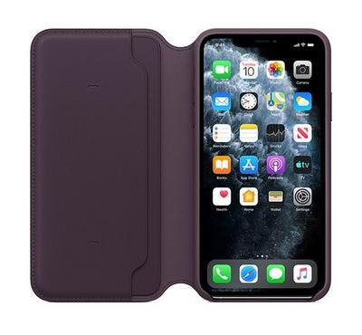 Apple iPhone 11 Pro Max Leather Folio Case Aubergine