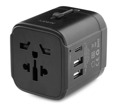 Aukey Universal Travel Adapter 3 Ports With USB-C Black