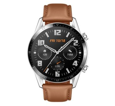 Huawei Watch GT2, 46mm Stainless Steel, Leather Strap, Brown